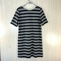 Gap Knit Shift Dress Women's Size M Black White Striped, Short Sleeves