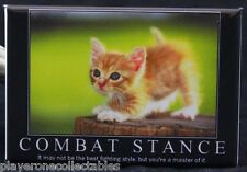 "Combat Stance Kitty - 2"" X 3"" Fridge / Locker Magnet. Very Cute!"