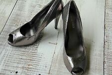 "NINE WEST Women's Size 8.5 Silver Snake-Skin Open Toe 3"" Stiletto Heels Shoes"
