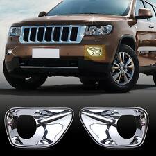 Chrome Front Fog Lamp Light Bezel Cover Trim for Jeep Grand Cherokee 2011-2013
