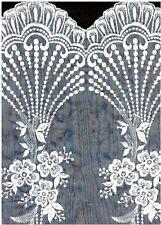 "Gorgeous Embroidered Scalloped Lace Organza 19"" Border Bridal White Satin #2055"