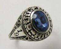 VINTAGE BALFOUR 1979 STERLING SILVER GUILFORD HIGH CLASS RING BLUE STONE SZ 7.5