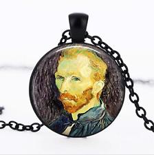 Van Gogh necklace Black Glass Cabochon Necklace chain Pendant Wholesale