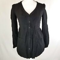 LC Lauren Conrad Womens Top Size XS Black V-Neck Pintuck Button Down Blouse 1391