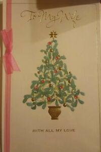 American Greetings  Christmas Card Wife/ to my wife with all my love RHINESTONE