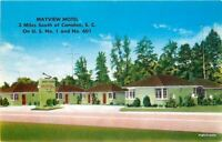 1940s Mayview Motel Roadside Camden South Carolina Butler postcard 8839