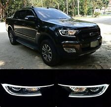 DRL LED FRONT HEAD LIGHT LAMP COVER TRIM FORD RANGER PX T6 FACELIFT MK2 15 16 17