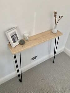 Small Narrow Reclaimed Console Radiator table with Industrial Hairpin legs 71cm