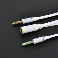 3.5mm AUX Audio Mic Splitter Cable Headphone Earphone Adapter Female to 2 Male