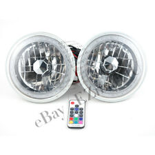 "7"" Universal ROUND RGB MULTI-COLOR HALO CHROME HEADLIGHTS LAMP 6014/6015/6024"