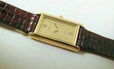 Lassale by Seiko Gold Tone Base Metal 8420-2250 Lizard Sample Watch NON-WORKING