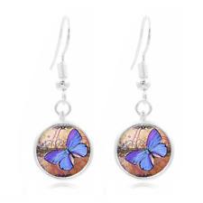 Butterfly Art Tibet Silver Dome Photo 16MM Glass Cabochon Long Earrings #65