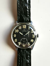 OMEGA Military Watch 15 Jewels Swiss Made Black Dial Vintage Pre WW2