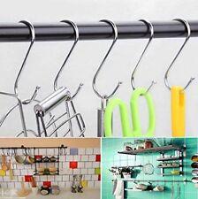 S Hooks Steel Metal Cloths Hanging Kitchen Utensil Hanger Garden Rail Pot UK Sel