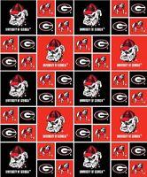 Georgia University Bulldogs NCAA block Cotton Fabric Sold by The Yard