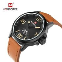 NAVIFORCE Luxury Sport Quartz Watch Men Leather Army Military Wrist Waterproof