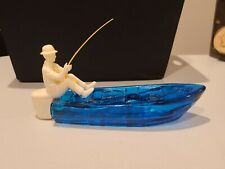 Vintage Avon Tai Winds After Shave Gone Fishing Blue Glass Boat 5oz Collectors