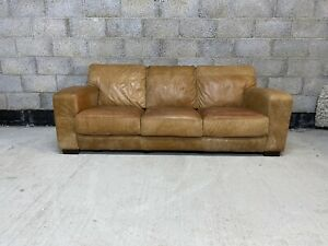 Art Deco Style Cigar Tanned Brown Leather Chesterfield 3 Seater Club Sofa