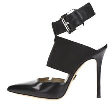 MICHAEL KORS Womens Black Leather Pointy Toe Buckle Ankle Strap Heels Size 37