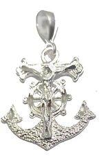Crucifix Anchor .925 Sterling Silver Pendant - Jesus Ancla Marinera Plata .925
