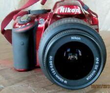 NIKON D3200 DIGITAL SLR RED CAMERA w/ 18-55 BLACK LENS 24.2 MP GREAT CONDITION!!
