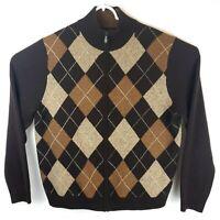Brooks Brothers 346 Mens Large Brown Full Zip Lambs Wool Argyle Mock Sweater