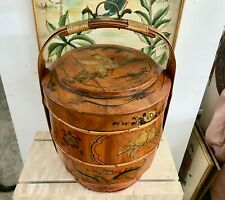 """Antique 19"""" Chinese 1800s Lunch/Wedding Box with Chinese Boy Signed by Li Susan"""
