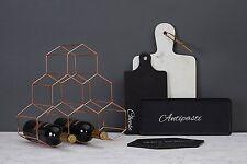 Vertex Copper Wine Rack Metal Plated Geometric 6 Bottle Kitchen Storage Stand