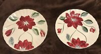 """Pair Blue Ridge Pottery Wine Red Burgundy Floral 9 1/4"""" Luncheon? Dinner Plates"""