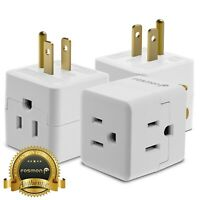 3x [ETL Listed] 3 Outlet Prong Indoor Grounded AC Power Light Wall Tap Adapter