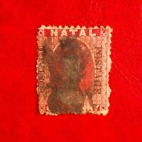 SOUTH AFRICA NATAL QUEEN VICTORIA ONE PENNY POSTAGE STAMP USED O/P POSTAGE