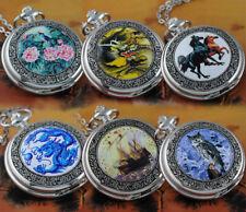 Vintage Steampunk ENAMEL Quartz Pocket Watch Necklace Pendant Men's Ladies Gifts