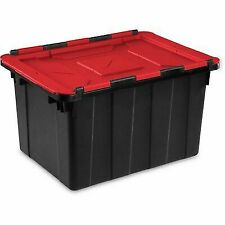 Sterilite 14619006 Hinged Lid Industrial Tote 12 Gal Black Red Pack Of 6