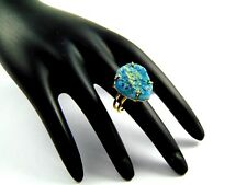 GORGEOUS 18K GOLD PLATED TITANIUM DRUZY ALLOY ADJUSTABLE RING OVERLAY JEWELRY