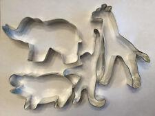 Jungle Animals Cookie Cutters, Set of 4, Elephant, Monkey, Giraffe, Hippopotamus