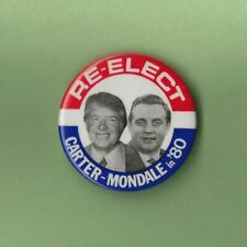 """1980 Jimmy Carter & Walter Mondale 1.75"""" / Re-Elect Presidential Campaign Button"""