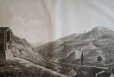 SALATHÉ : Le Perthuis et le Fort de Bellegarde. D'apres MELLING. Aquatinte1826