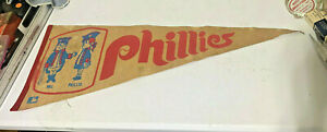VINTAGE PHILADELPHIA PHILLIES PENNANT PHIL & PHILLIS ORIGINAL 1970'S LARGE