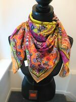 Etro NWT Multi Colorful Bright Square Etro Print 100% Silk Scarf Retail $475