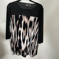 Travelers Collection by Chico's Animal Print  Tunic Top Sz 2