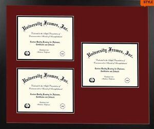 Three 11x14 openings diploma frame, black  frame, top maroon, bottom black