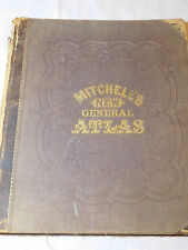 1866 MITCHELL'S NEW GENERAL ATLAS LARGE FOLIO with 51 COLOR MAPS