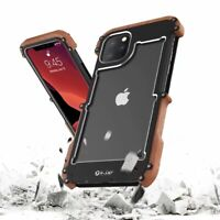 Metal Aluminum+Wooden Rugged Armor Shockproof Case Cover For iPhone 11 Pro Max