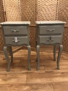 Pair Of Brissi Of London Gloria Two Drawer Bedside Tables, Grey - Can Deliver