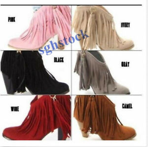 2019 Women's Faux suede Fringes Tassels High chunky Heels Ankle boots shoes Size
