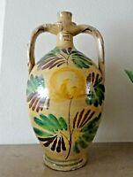 poterie - grande cruche à deux oreilles en terre vernissée - fleur
