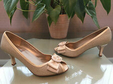 Ladies HB Espana cream leather peep toe court shoes bow fronts UK 5 EU 38