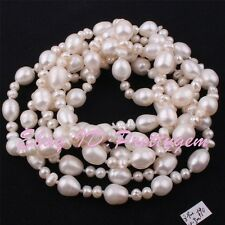 4x5-8x9mm Natural White Freshwater Pearl Beads Genstone Handwork Necklace 45""