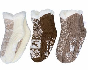 MUK LUKS Jojoba Infused Shearling Ankle Cabin Socks Set of 3 Neutral S/M Size
