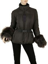 NEW PRADA MILANO GUNMETAL GRAY FOX FUR CUFFS BELTED DOWN WINTER JACKET COAT 44/8